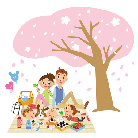 family is cherry-blossom viewing
