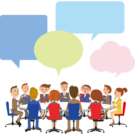 explanations: business meeting scene Illustration