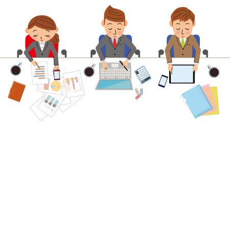 reunion de trabajo: escena de trabajo de negocios Vectores