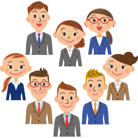 business scene: Office worker meeting Illustration