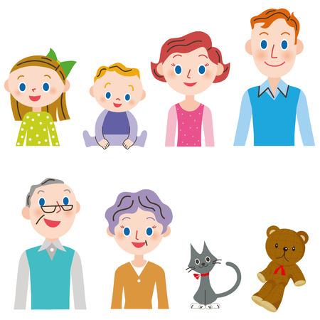 three generations: Three-generation family set
