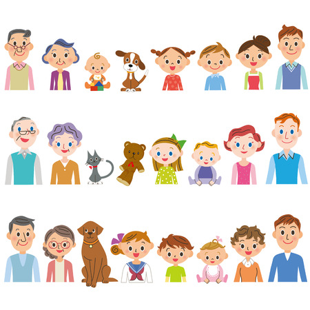 third generation 3 family set Vettoriali