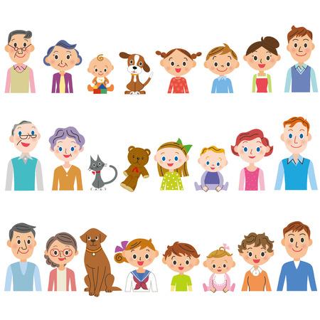 plural number: third generation 3 family set Illustration