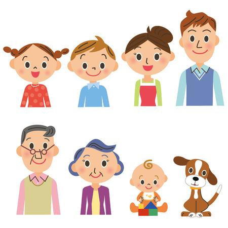 conjunto de la familia de tres generaciones
