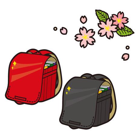 satchel: cherry tree and school satchel Illustration