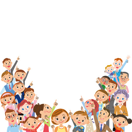 large number of people  イラスト・ベクター素材