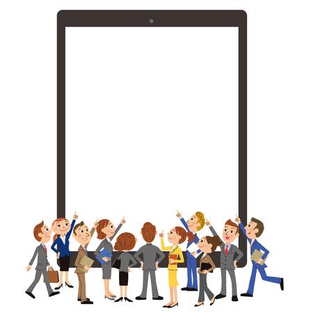 reunión de la tableta y el oficinista Ilustración de vector
