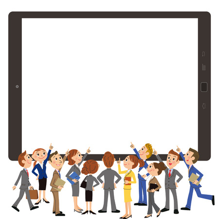 tablet and office worker meeting