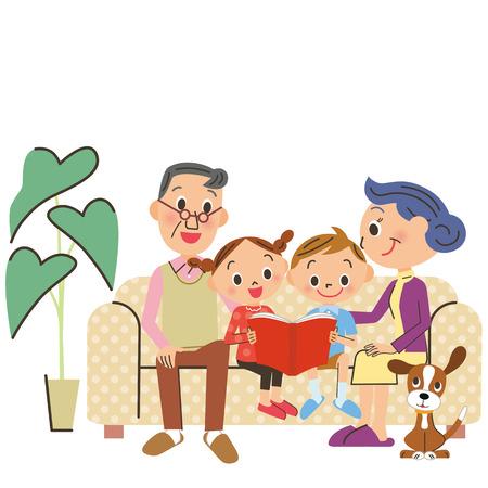 grandchild: Grandchild and reading Illustration