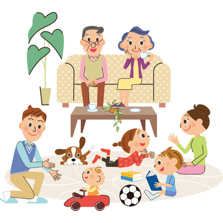 Living and three-generation family