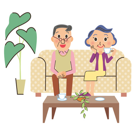 old sofa: old couple who drinks coffee