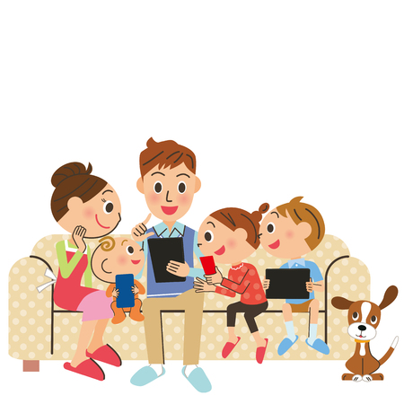searches: family searches it with carrying and a tablet Illustration