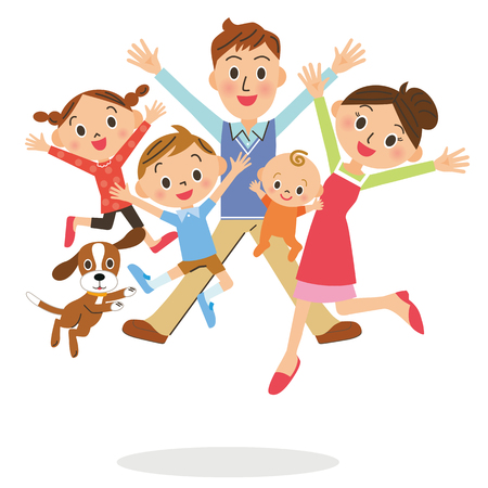 good spirits: family who jumps Illustration