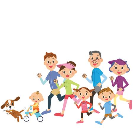 courir dans trois générations-famille
