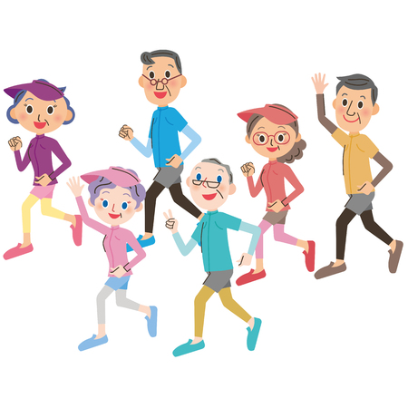 senior exercise: Senior to run well Illustration