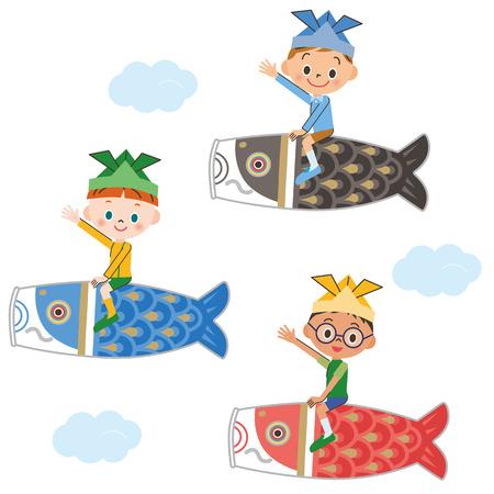 streamer: Children who got on the carp streamer
