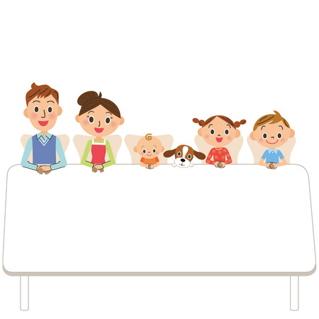 blank spaces: family who sits down on a table