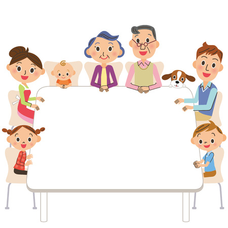 dining table: The three-generation family who sits down on a table