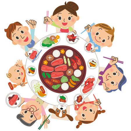 three-generation family who eats roasted meat Stock Illustratie