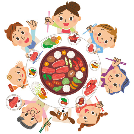 three-generation family who eats roasted meat Illustration