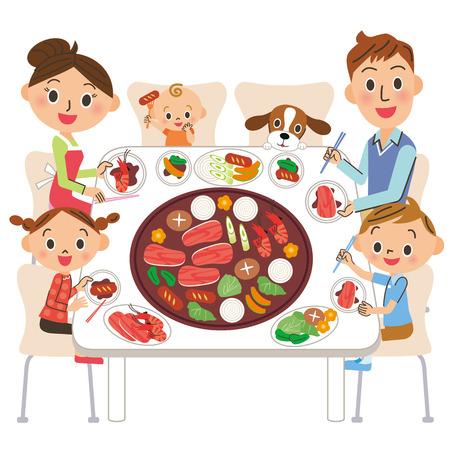 구운 고기를 먹는 가족