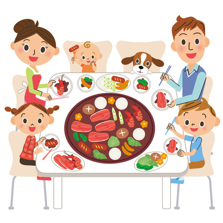 family who eats roasted meat Stock Illustratie
