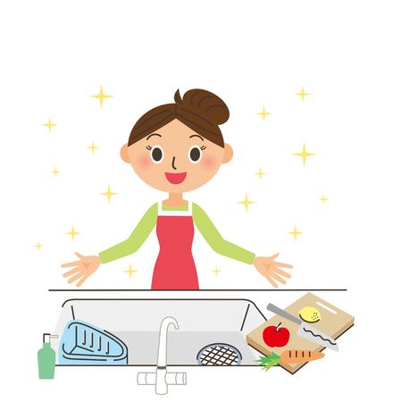 aseo: cocina limpia Vectores