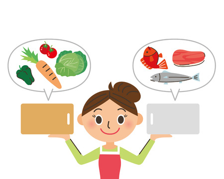distribute: cutting board and ingredients Illustration