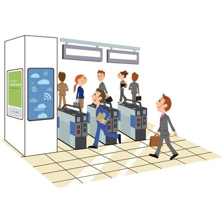 oficinista que pasa un portillo Ilustración de vector