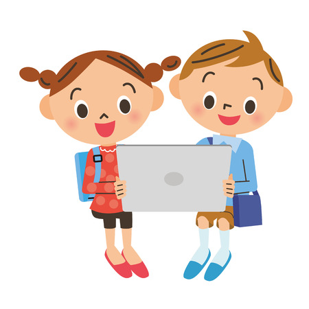 boy and girl: child who operates a tablet