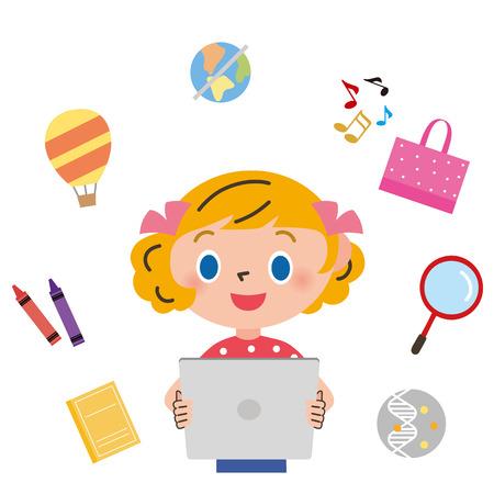 schoolkid: Girl having a tablet