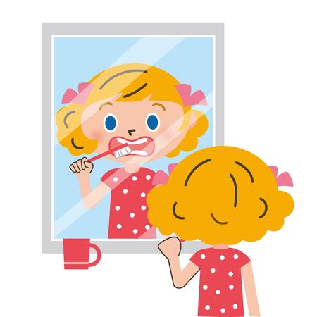 toothbrushing: mirror and toothbrushing Illustration