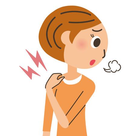 overwork: Woman of stiff shoulder
