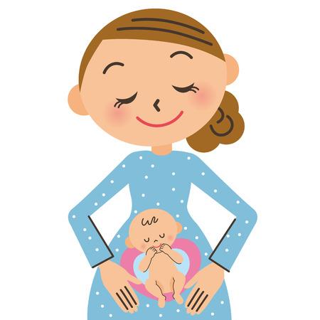 임신 한 여자와 아기
