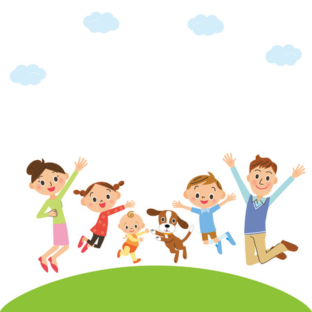 fine weather: Cheerful parent and child Illustration