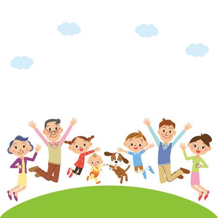 Cheerful three-generation family