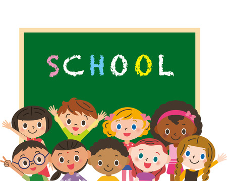 bilingual: school and children Illustration