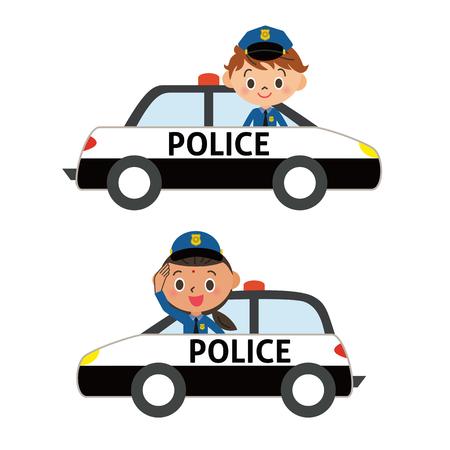 Politieambtenaar in een politie-auto