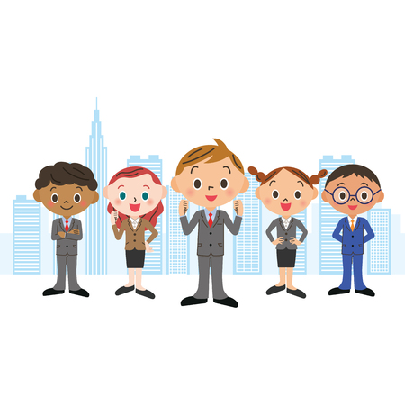 recruit suit: Business team central in boys Illustration