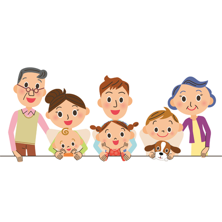 three children: Close three-generation family Illustration