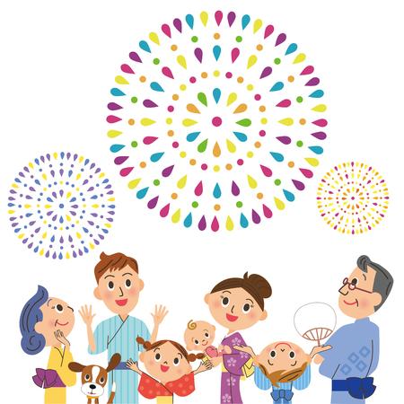 summer festival: appreciate fireworks in three generations Illustration