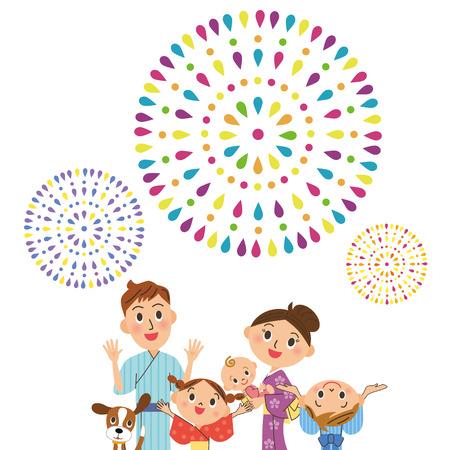 yukata: appreciate fireworks in parent and child Illustration
