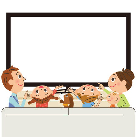 family illustration: Parent and child to see TV Illustration