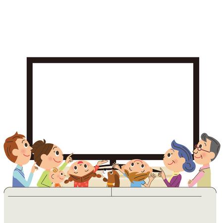 familia de tres generaciones para ver la televisión