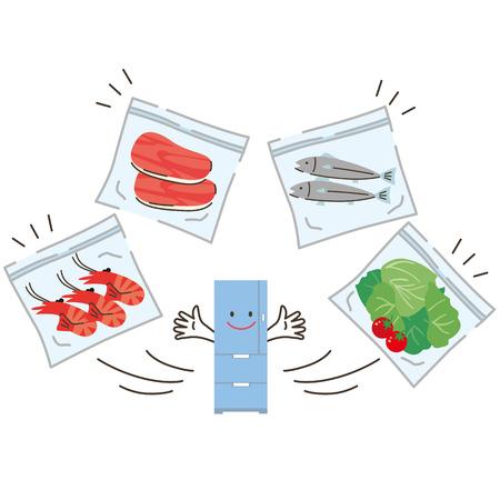 poisoning: refrigerator and ingredients Illustration