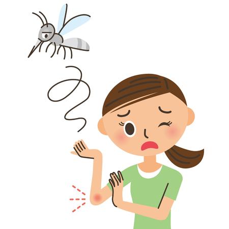 kobieta, która zostaje ugryziony przez komara