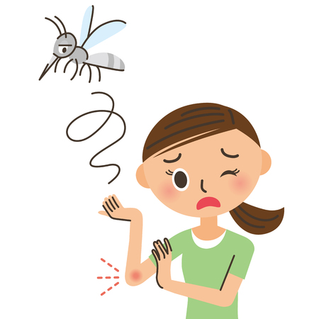 symptom: woman who is bitten by a mosquito Illustration