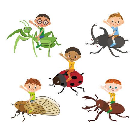 cigarra: niño que montaba un insecto