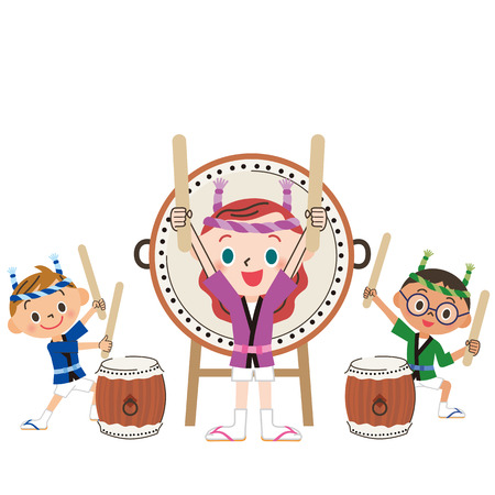 drum and child Иллюстрация