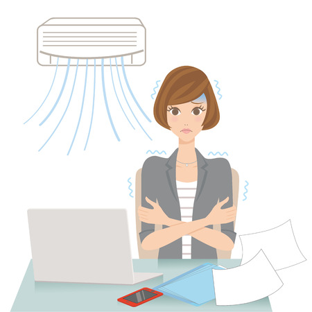 woman who gets cold with an air-conditioner